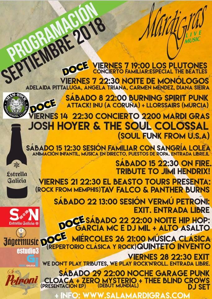 Salas de conciertos A Coruña Septiembre
