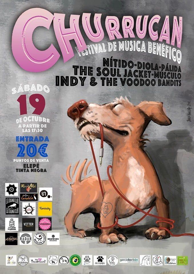 Cartel Churrucan, festival benéfico en favor de los animales en Vigo.
