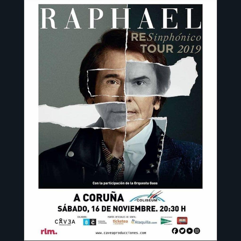 Cartel del concierto de Raphael dentro de la agenda de Coruña en noviembre 2019
