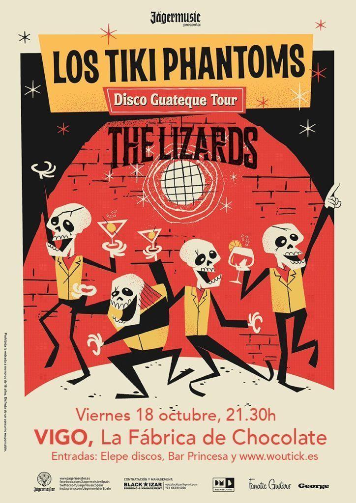 Cartel concierto de los Tiki Phantoms y  The Lizards en la Fábrica de Chocolate, en Vigo.