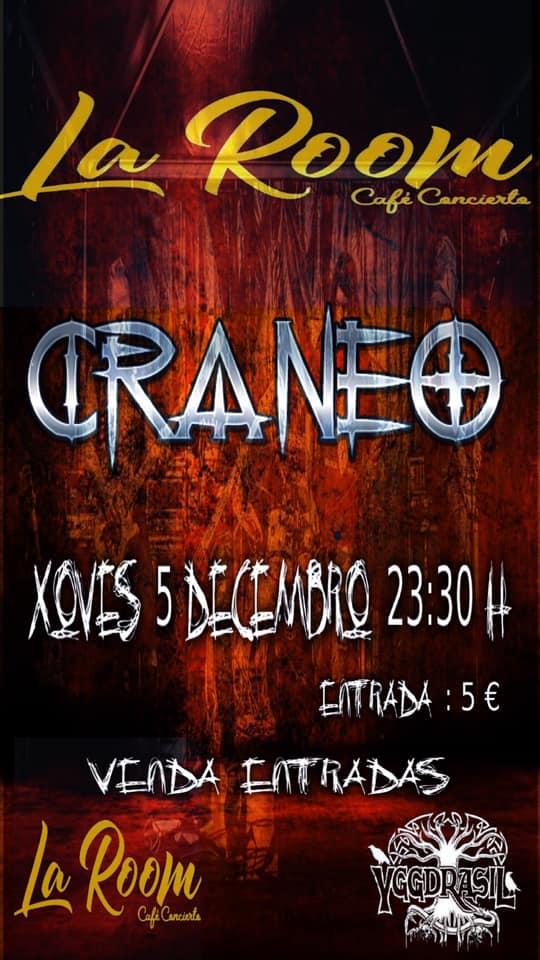 Cartel del concierto de Cráneo en la Sala La Room. Agenda de Ferrol en diciembre 2019