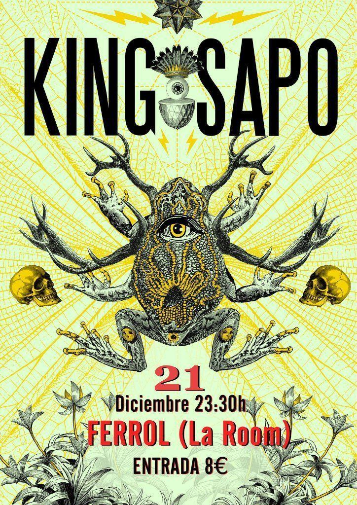 Cartel del concierto de King Sapo el sábado 21 en La Room. Agenda de Ferrol en diciembre 2019.
