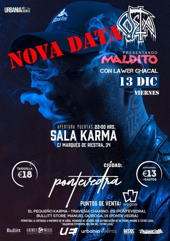Cartel del concierto de Costa y Lawer Chacal en la sala Karma. Agenda de Pontevedra en diciembre 2019