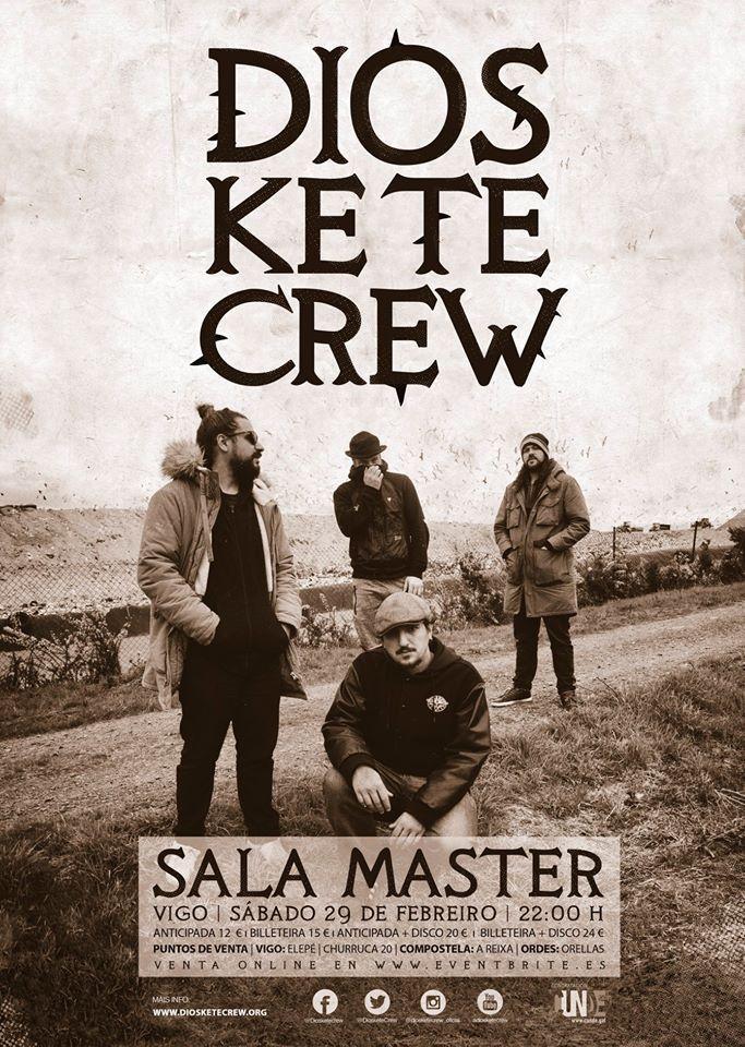 Cartel del concierto de Dios Ke Te Crew en la sala Master el sábado 29 de febrero.