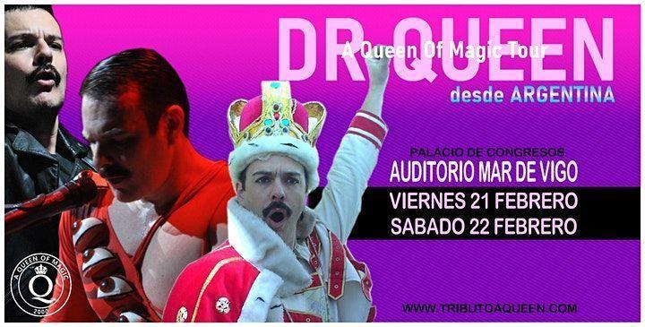 Cartel del concierto de Dr. Queen en Vigo el viernes 21 de febrero. Es una de bandas tributo a Queen con más fama.