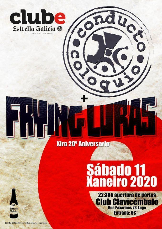 Cartel del concierto de los Frying Luras el sábado 11. Agenda de Lugo en enero 2020.
