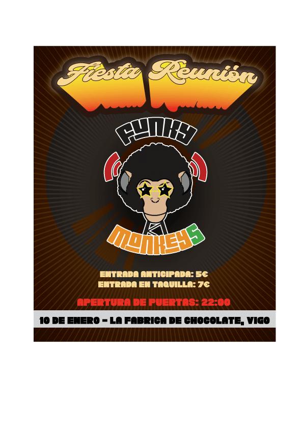 Cartel del concierto de Funky Monkeys el viernes 10 en la Fábrica de Chocolate. Agenda de Vigo en enero 2020.