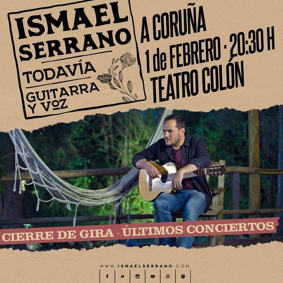 Cartel del concierto de Ismael Serrano en el Teatro Colón el 1 de febrero.