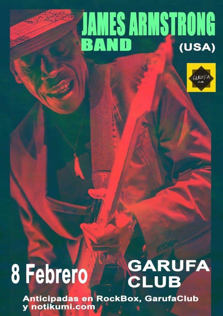 Cartel del concierto de James Amstrong Band el sábado 8 en la Sala Garufa.