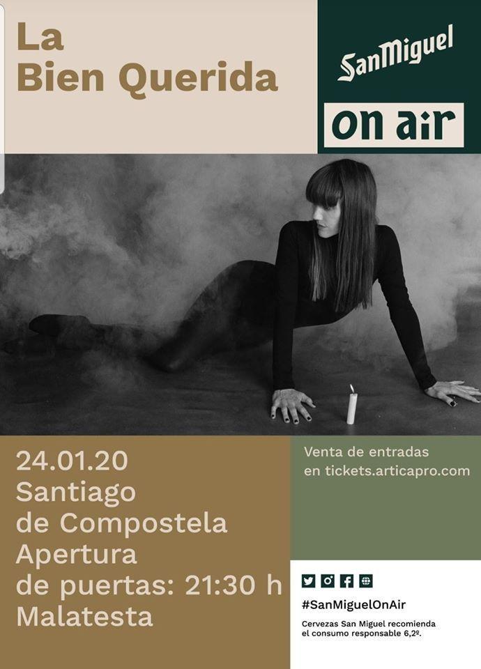 Cartel del concierto de La Bien Querida el viernes 24 en la Sala Malatesta.