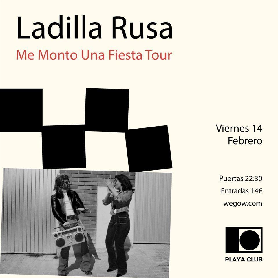 Cartel del concierto de Ladilla Rusa en el Playa Club el 14 de febrero.