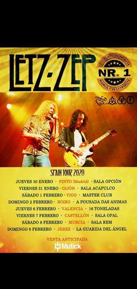 Cartel de la gira de Letz Zep, un grupo tributo a los míticos Led Zeppelin.