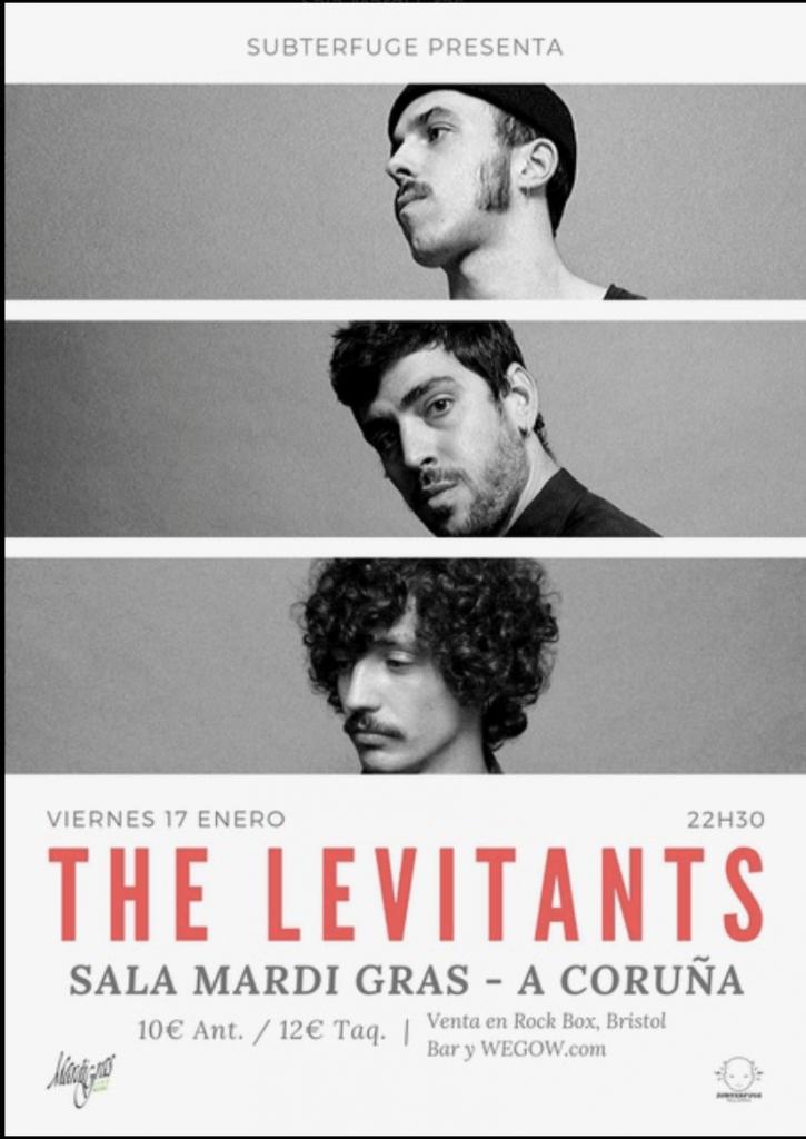Cartel del concierto de The Levitants en la Mardi el viernes 17 de enero. Agenda de Coruña en enero 2020.