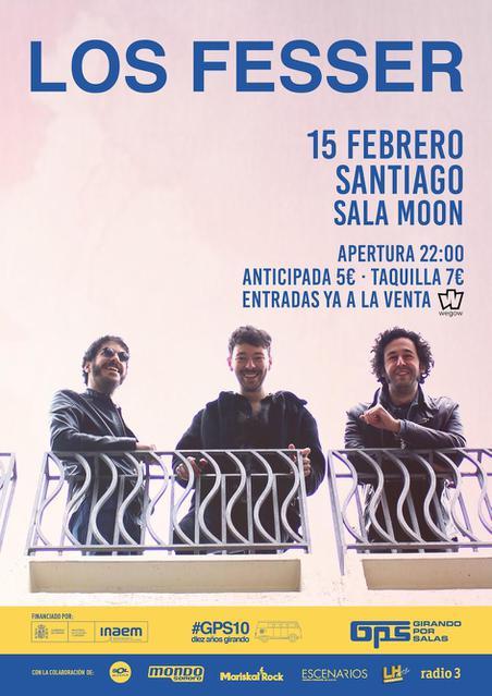 Cartel del concierto de Los Fesser en la Sala Moon el sábado 15 de febrero