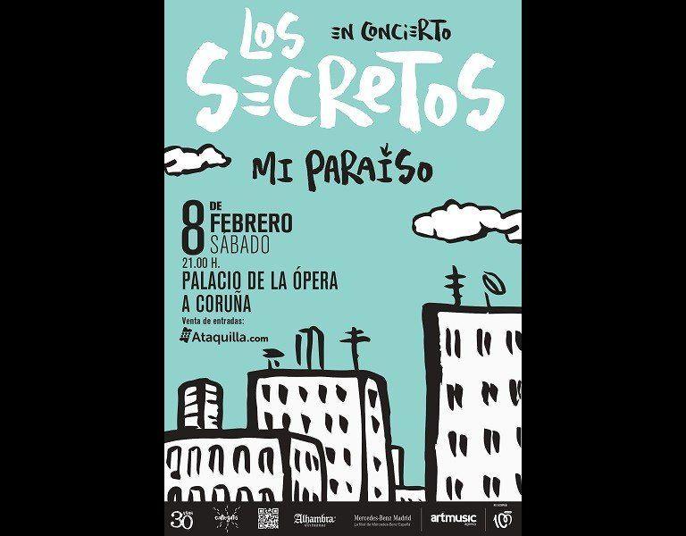 Cartel del concierto de Los Secretos el 8 en el Palacio de la Opera
