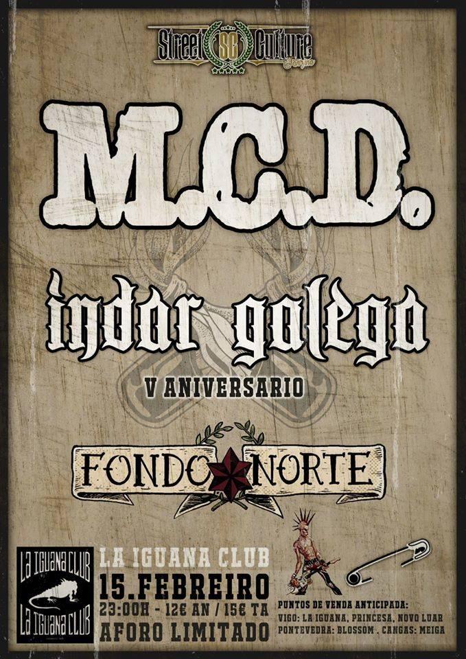 Cartel del concierto de M.C.D en la Iguana el 15 de febrero.