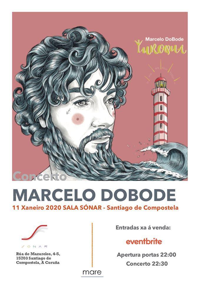 Cartel del concierto de Marcelo Dobode en la sala Sónar el sábado 11. Agenda de Santiago en enero 2020.