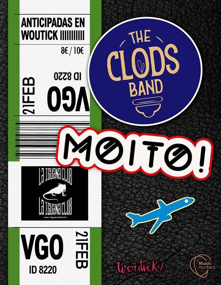 Cartel del concierto de Moito! y The Clods Band el 21 de febrero en la Iguana.