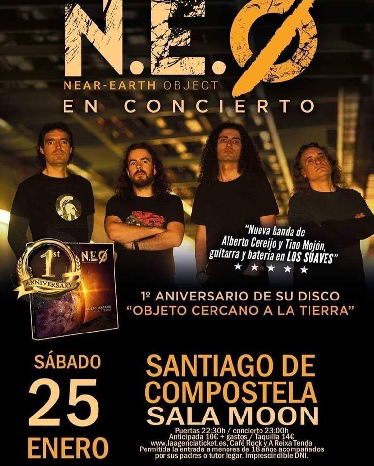 Cartel del concierto de N.E.O. en la Sala Moon el sábado 25.