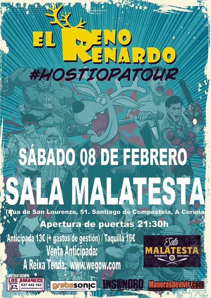 Cartel del concierto de El Reno Renardo en la Sala Malatesta el sábado 8 de febrero.