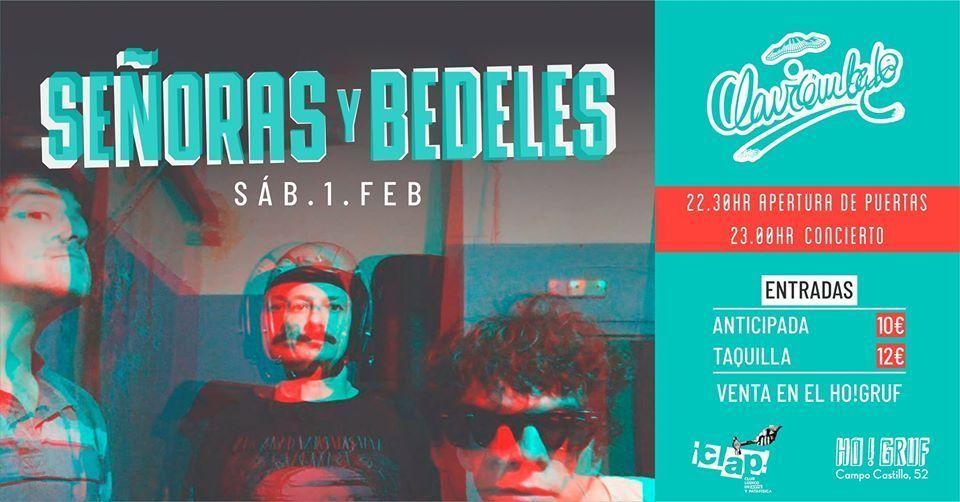 Cartel del concierto de Señoras y Vedeles el sábado 1 de febrero en el Clavicémbalo