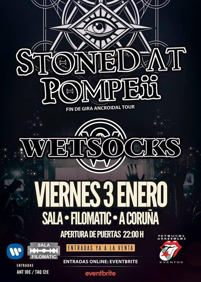 Cartel del concierto de Stoned at Pompeii el viernes 3 de enero en la Filomatic. Agenda de Coruña en enero 2020.