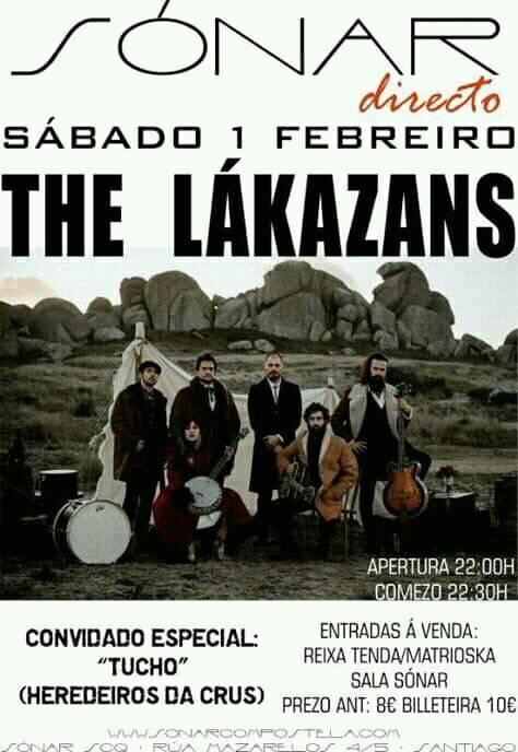 Cartel del concierto de The Lakazans en la Sala Sónar el 1 de febrero.