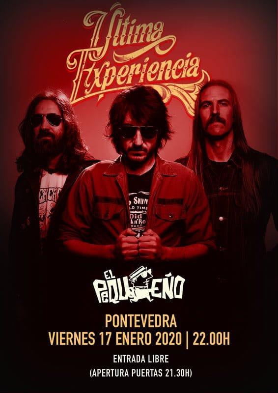 Cartel del concierto de Última Experiencia el viernes 17 en la Sala El Pequeño.