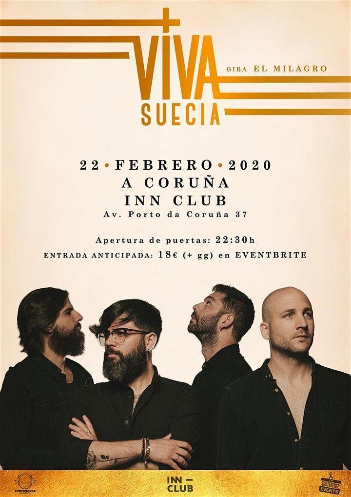 Cartel del concierto de Viva Suecia en la Inn Club el 22 febrero.