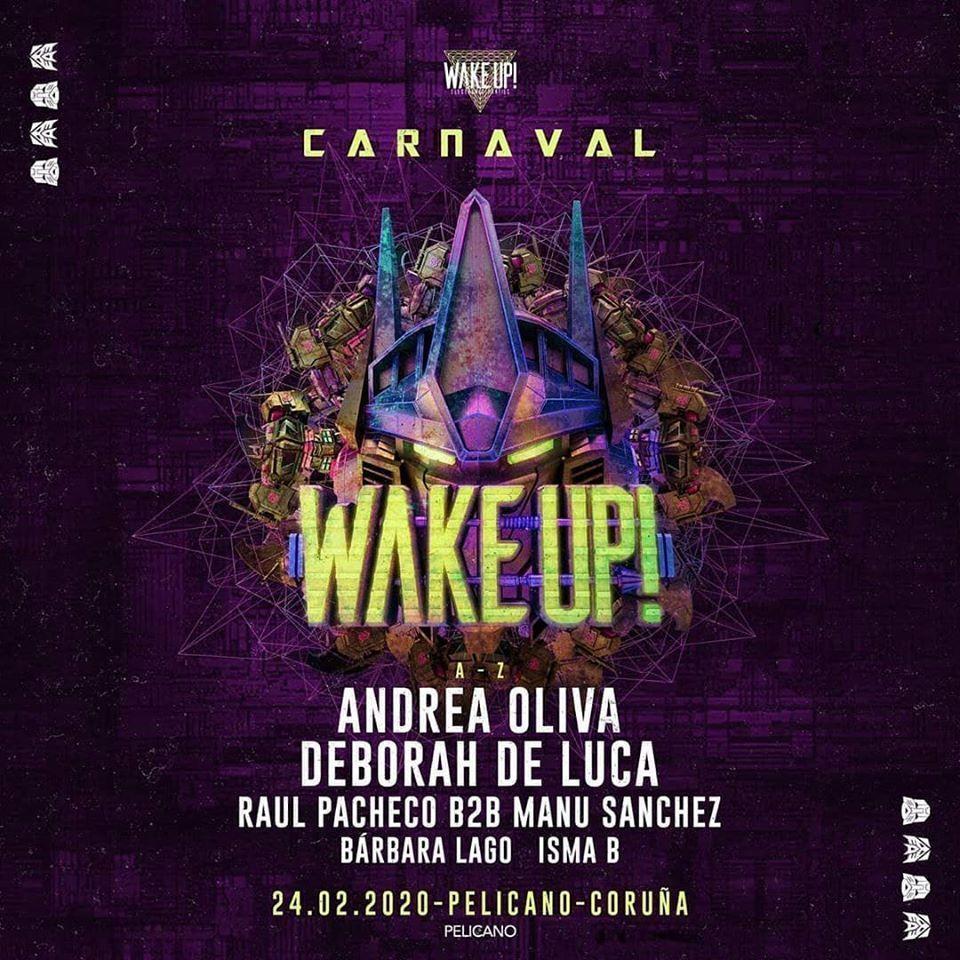 Cartel de la fiesta de electrónica Wake Up en la Pelicano el 24 de febrero.