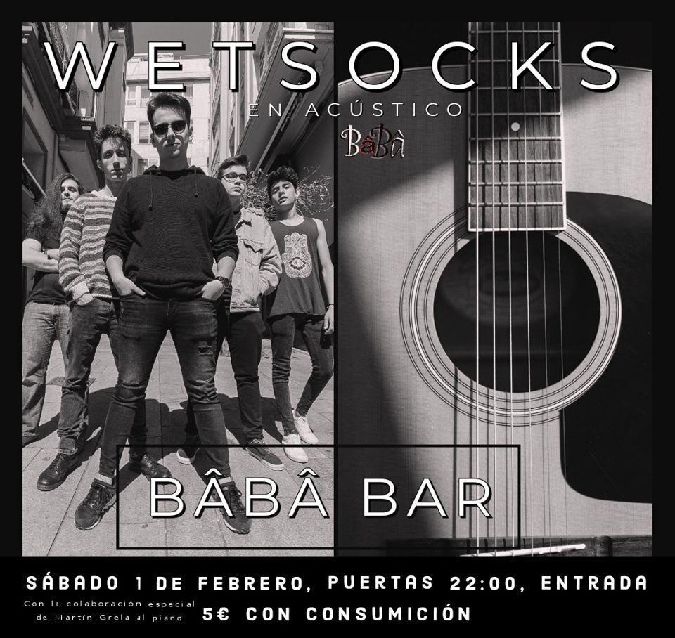 Cartel del concierto acústico que darán WetSocks el 1 de febrero en el BâBâ Bar.