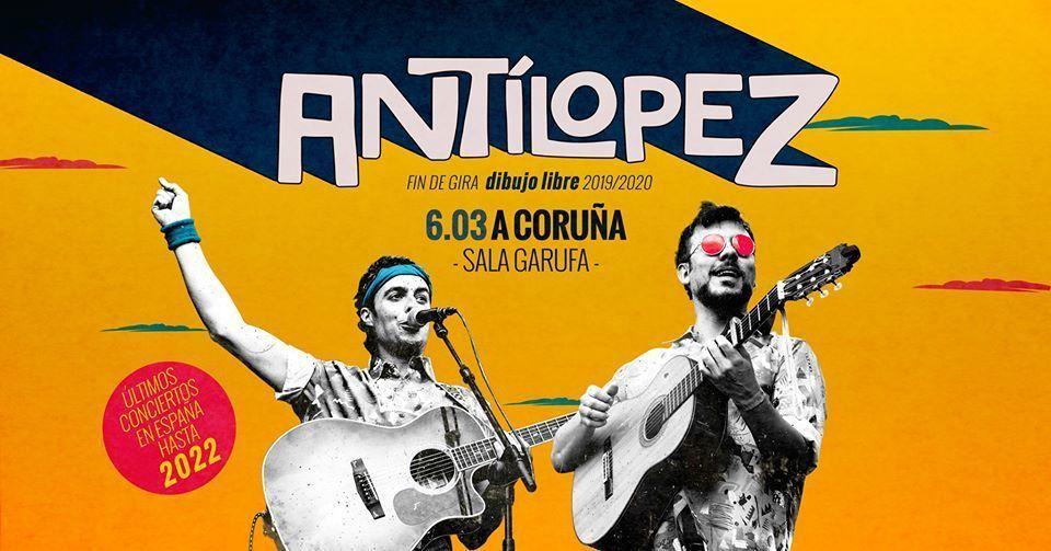 Cartel del concierto de Antílopez el viernes 6 en la Sala Garufa de Coruña.