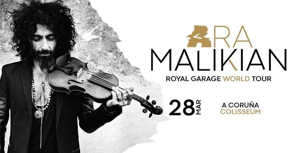 Cartel del concierto de Ara Malikian el sábado 28 de marzo en el Coliseum. Agenda de Coruña en marzo 2020.