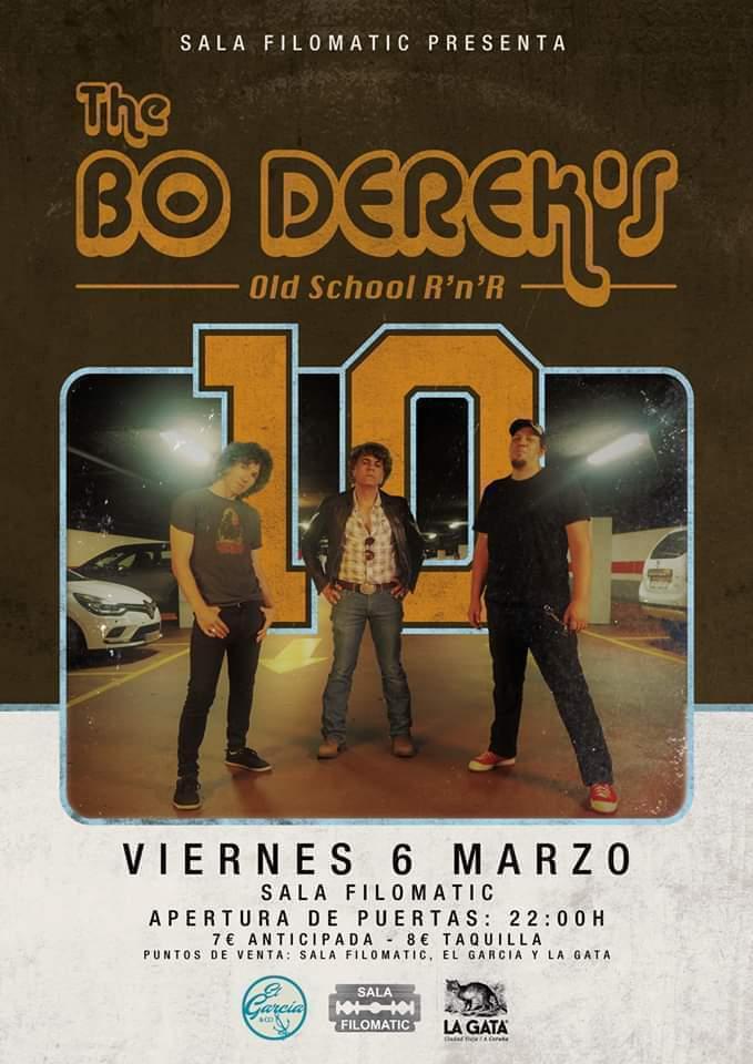 Cartel del concierto de Bo Derek´s el viernes 6 en la Filomatic de Coruña.
