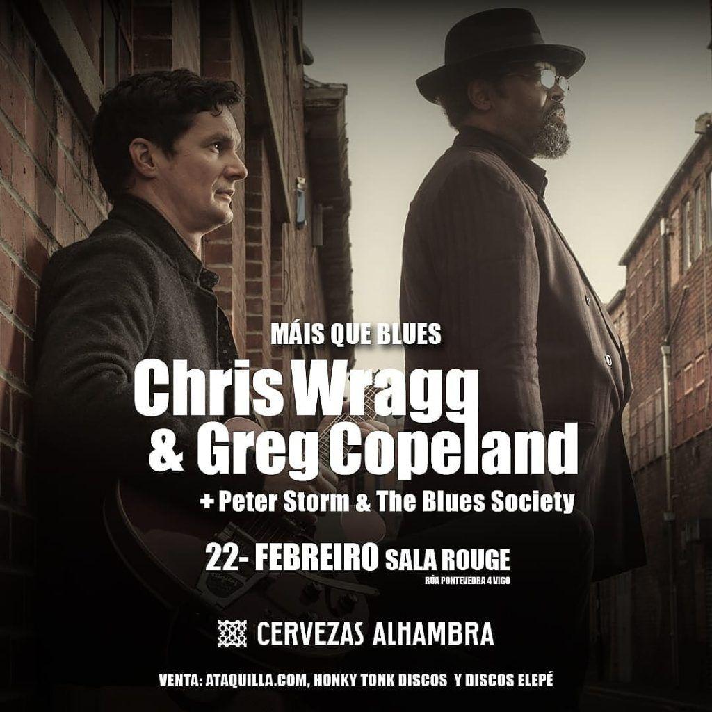 Cartel del concierto de Chriss Wragg y Greg Copeland el sábado 22 de febrero en la Sala Rouge.