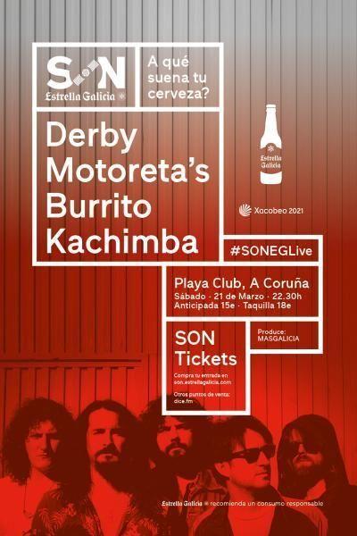 Cartel del concierto de Derby Motoreta´s el sábado 21 de marzo en el Playa. Agenda de Coruña en marzo 2020.