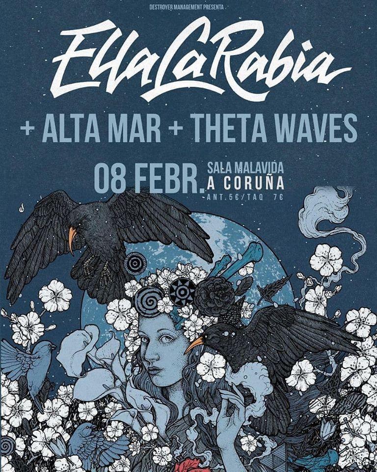 Cartel del concierto de Ella La Rabia el sábado 8 de febrero en la Sala Malavida.
