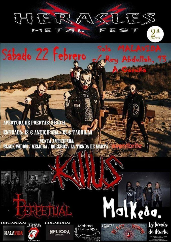 Cartel del festival Heracles Metal Fest el sábado 22 de febrero en la Sala Malavida. Actúan Killus, Perppetual y Malkeda