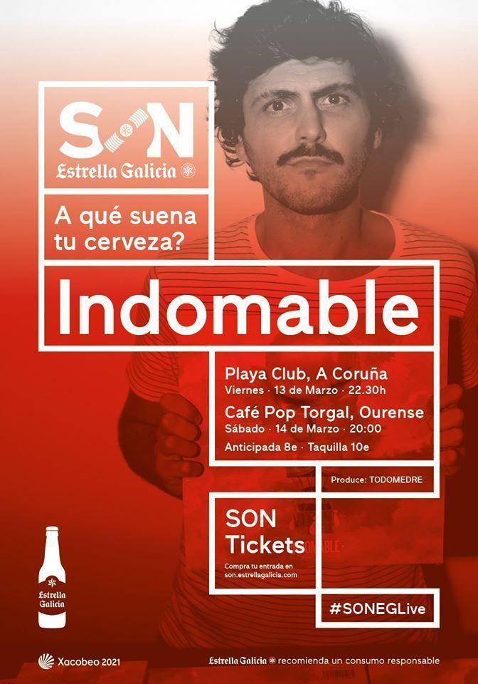 Cartel de los conciertos de Indomable en A Coruña y Ourense.