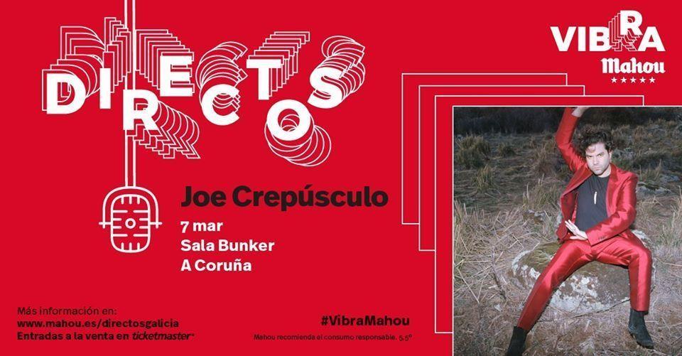 Cartel del concierto de Joe Crepúsculo en la Sala Bunker el sábado 7 de marzo.