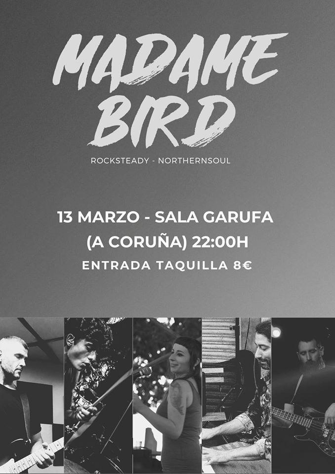 Cartel del concierto de Madame Bird en el Garufa el viernes 13 de marzo.