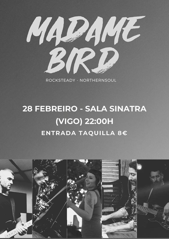 Cartel del concierto de Madame Bird en la Sala Sinatra el viernes 28 de febrero.