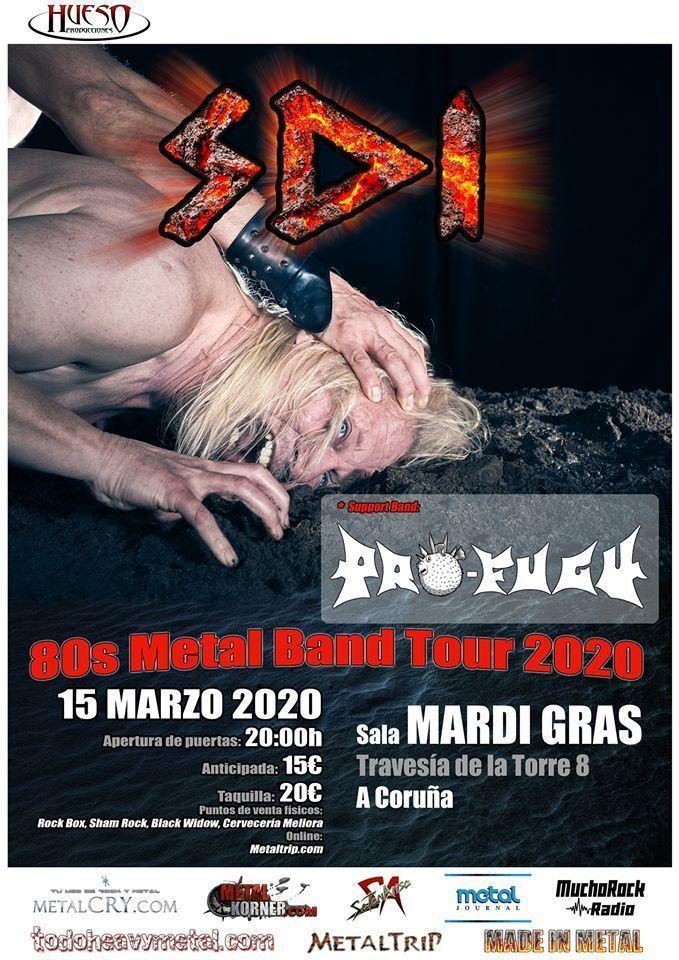 Cartel del concierto de SDI en la Mardi Gras el domingo 15 de marzo. Agenda de Coruña en marzo 2020.