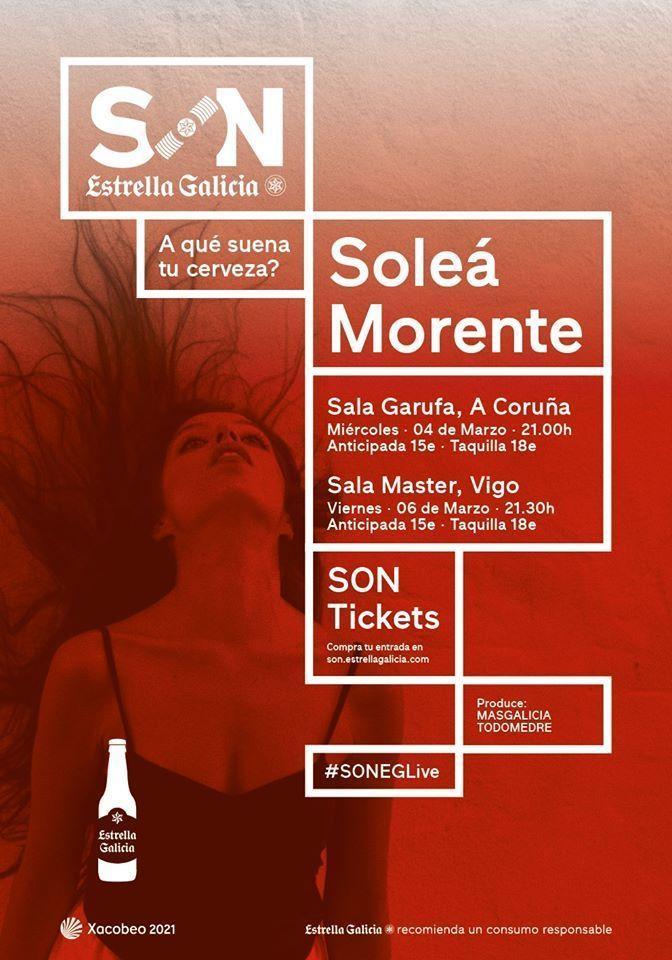 Cartel del concierto de Soleá Morente en Coruña y Vigo el 4 y 5 de marzo.