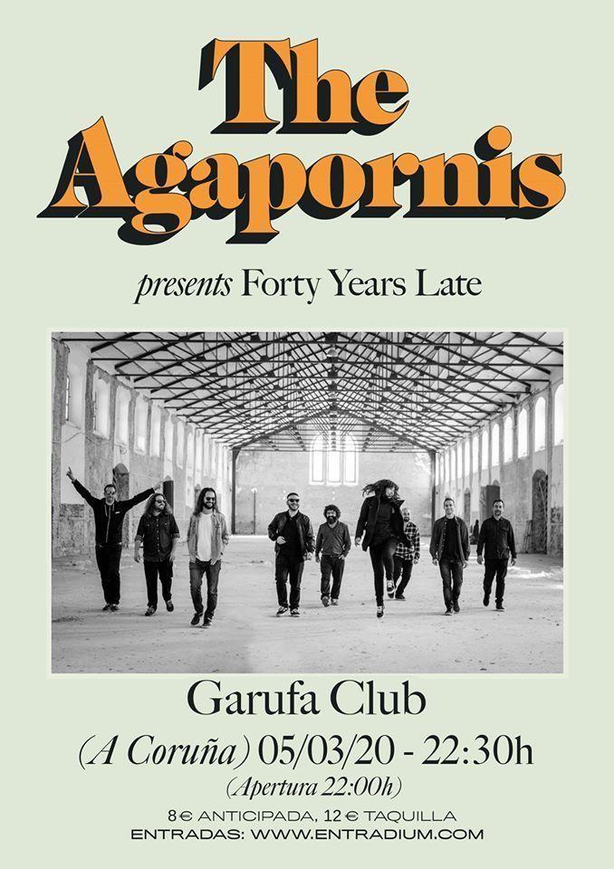 Cartel del concierto del concierto de The Agapornis el jueves 5 de marzo en el Garufa.