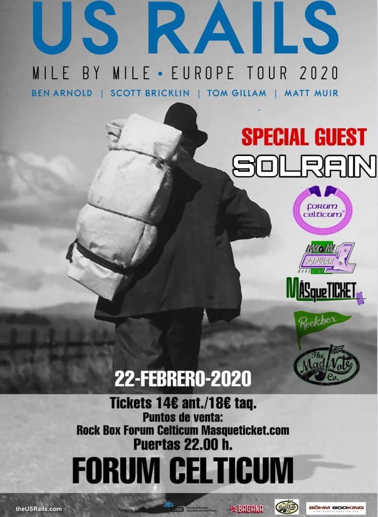 Cartel del concierto de US Rails el 22 de febrero en la Forum Celticum.