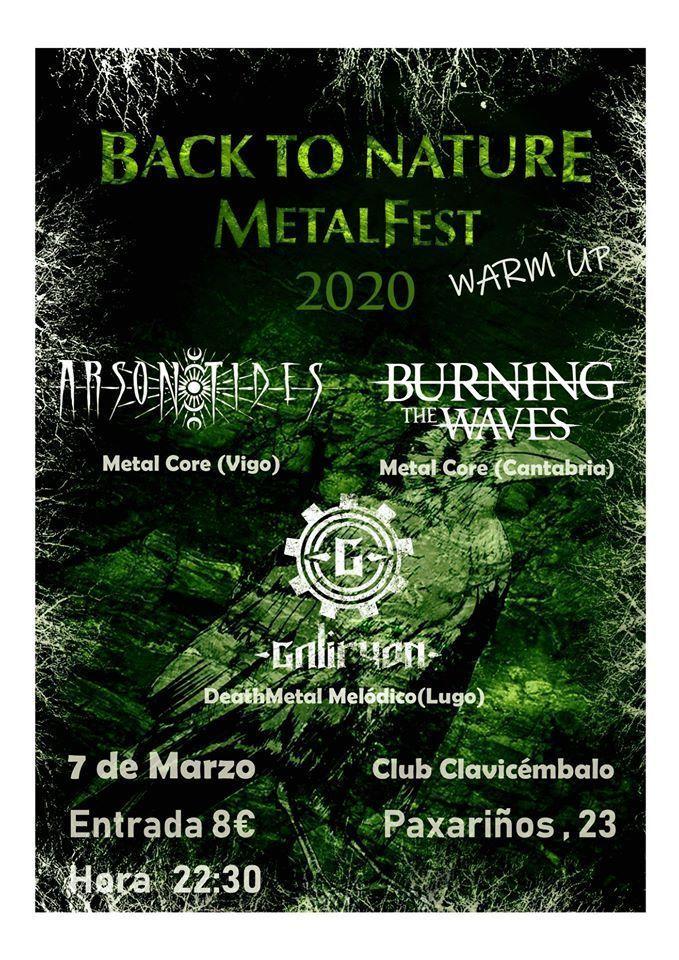 Cartel del festival Back To Nature Metalfest en el Clavicémbalo el sábado 7 de marzo.