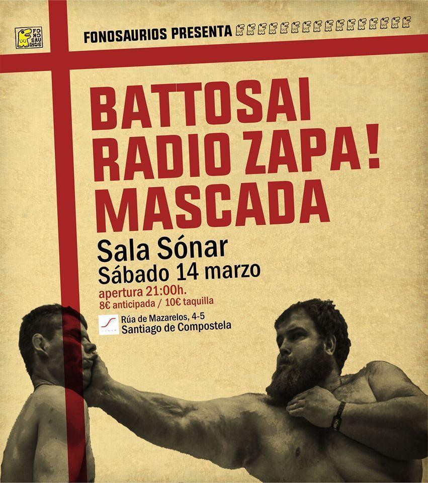 Cartel del concierto de Battosai el sábado 14 en la Sala Sónar. Agenda de Santiago en marzo 2020.