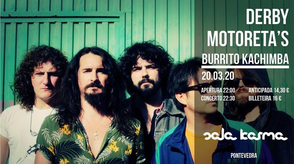 Cartel del concierto de Derby Motoreta´s Burrito Kachimba el sábado 20 de marzo en la Sala Karma.