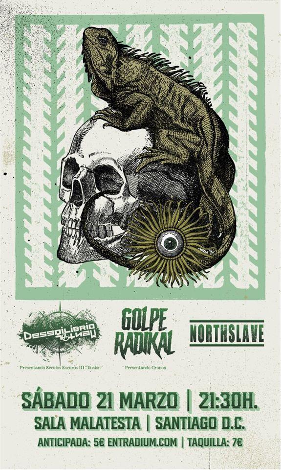 Cartel del concierto de Desiquilibrio Mental + Golpe Radikal + Northslave en la Sala Malatesta el sábado 21 de marzo.